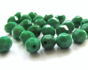 Opaque Green Faceted Czech Glass Round Beads, 6mm - 25 pieces