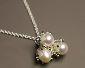 Pearl Sprouts Necklace in Sterling Silver