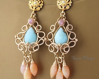 SALE 35% OFF-Tenderness-14k gold fill, blue amazonite, pink sapphires and pink opal post chandelier earrings