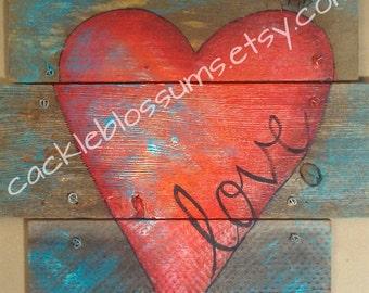 Love Heart on Rustic Wood Wall Decor Door Decor Original Art