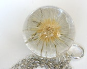Bridal Necklace, Large Dandelion Necklace no3 with Full Dandelion and Sterling Silver Chain, Dandelion Jewelry