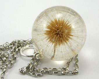 Bridal Necklace, Large Dandelion Necklace no2 with Full Dandelion and Sterling Silver Chain, Dandelion Jewelry