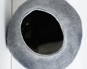 Cat Nap Cocoon / Cave / Bed / House / Vessel - Hand Felted Wool - Crisp Contemporary Design - Dark Grey Bubble