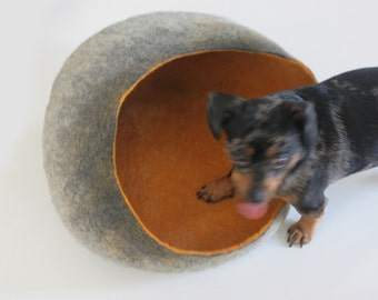 Pet / Dog / Cat Bed / Cave / House / Vessel - Hand Felted Wool - Grey Mustard Stone - Crisp Contemporary Design