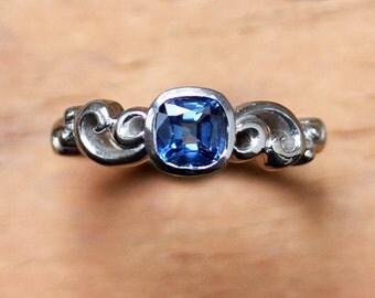Blue sapphire engagement ring - recycled 14k palladium white gold - Water ring - alternative engagement ring - september birthstone - custom