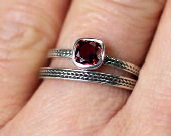 Sterling silver garnet ring - wheat braid band - dark red - rustic - oxidized - eco friendly engagement ring - ready to ship size 5