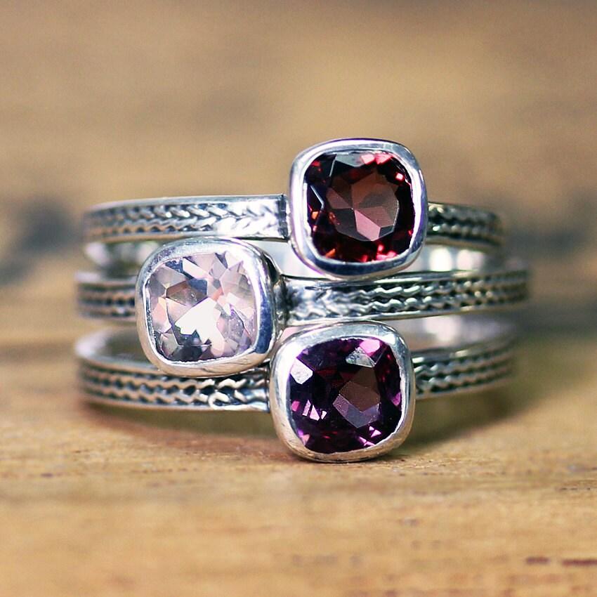 Stackable Gemstone Rings Birthstone Stack Garnet Ring