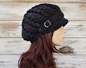 Grey Newsboy Hat Crochet Hat Womens Hat - Spring Monarch Hat Charcoal Grey Hat Ribbed Newsboy Hat Womens Accessories