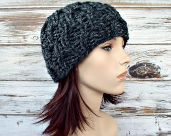 Granite Grey Cable Beanie Chunky Knit Hat Womens Hat Grey Hat Grey Beanie - Amsterdam Cable Beanie - Womens Accessories Winter Hat