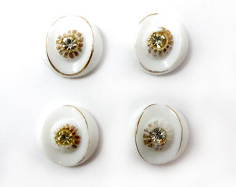 Vintage White Class Cabochons with Gold Foil Detail and Clear Rhinestone Eye Cabochons (4X) (CB543)