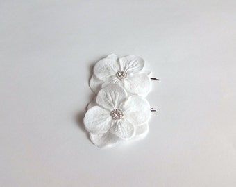Bridal Snow White Hydrangea Flowers Hair Pins or Shoe Clips