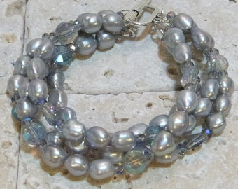 Silver Freshwater Pearl 4 Strand Bracelet with Crystals