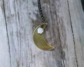 crescent moon necklace . rainbow moonstone
