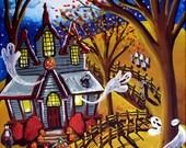 Haunted House Fall Halloween Kids Trick Treat Fun Whimsical Folk Art Giclee Print