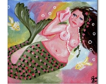 Beautiful Mermaid Diva Fun Whimsical Folk Art Ceramic Tile
