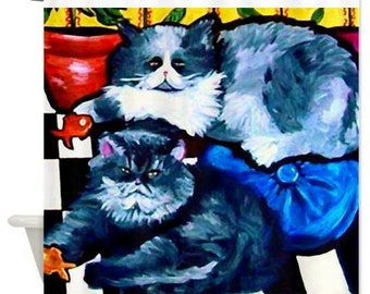 2 Fat Cats Fun Folk Art Whimsical Colorful Bathroom Shower Curtain