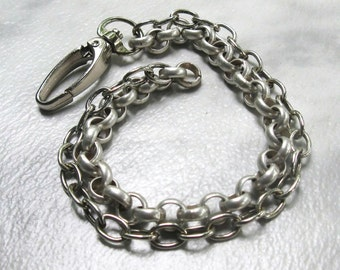 Heavy Silver Men's Bracelet, Matte and Shiny Silver Chain Link, Large Swivel Clasp, Unisex Jewelry Father's Day Gift for Him