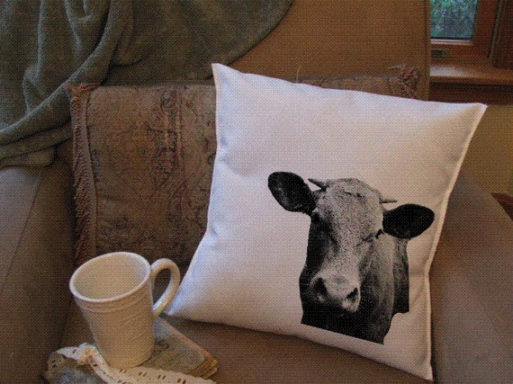 Funny cow head throw pillow cover custom throw pillow - What is a throw pillow ...