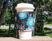 Fabric coffee cozy / cup holder / coffee sleeve - Flowers Andrea Victoria by Riley Blake