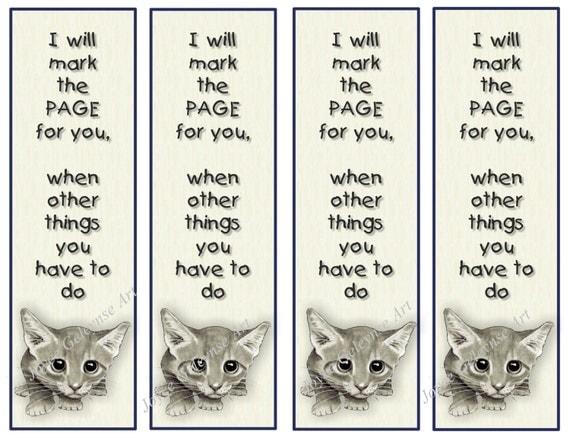 items similar to printable bookmark cute big eyed kitten
