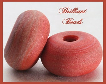 """Sandstone...Coral Red """"Sea Glass"""" Spacer Bead Pair...Handmade Lampwork Beads SRA, Made To Order"""