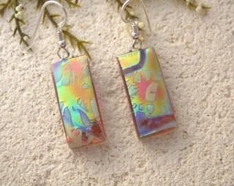 Dichroic Earrings, Dangle Drop Earrings, Satin Earrings, Dichroic Earrings, Dichroic Jewelry,Tree Branch, Fused Glass Jewelry, 062716e105
