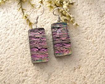 Pink Black Earrings, Dangle Drop Earrings, Fused Glass Earrings, Pink Earrings, Fused Glass Jewelry, Dichroic Earrings,Sterling 040714e104