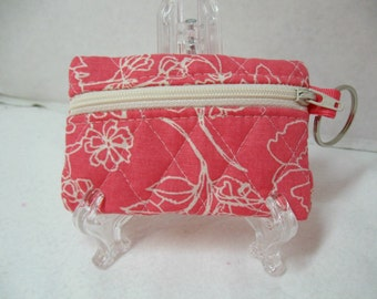 Coral Quilted Coin Purse - Coral Floral Change Purse - Quilted Small Zip Pouch - Coin Purse Key Chain - Coral Earbud Case