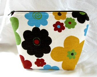 Make Up Bag Floral Bold Flowers Zip Pouch Zippered Gadget Case Brown Turquoise Lime
