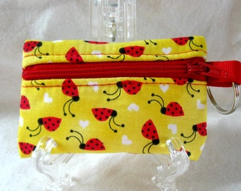 Ladybug Coin Purse - Yellow Change Purse -Ladybugs Small Zippered Pouch - Coin Purse with Key Chain - Ear Bud Case