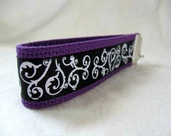 Scrolls Key Fob - PURPLE Black Swirls Key Chain - Purple Swirls Key Ring