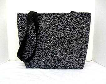 Large Cheetah Tote - Cheetah Padded Bag - Animal Print Tote - Black Grey Cheetah - Inside Pockets