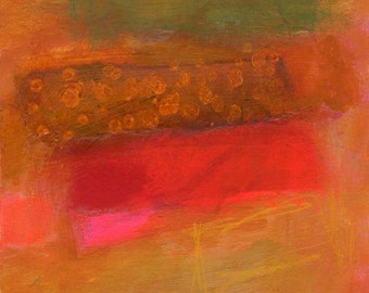 Red Abstract Painting with Gold and Green Textured Design, 8 x 8