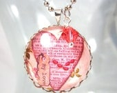 Heart Necklace, Glass Pendant, Word Jewelry, Shabby Chic, Heart Jewelry, Swarovski Crystal, Love Necklace, Valentines Day, Jewelry Gift