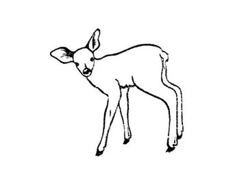 CLEARANCE fawn deer rubber stamp