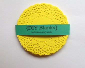 """4.5"""" Paper Doilies Doily Lemon yellow fancy Lace Qty 25 great for stamping"""