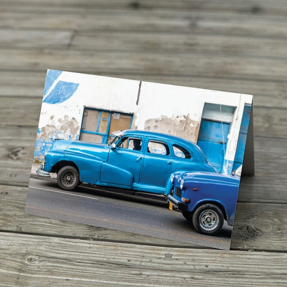 Blue photographic note cards set of 4 - vintage cars Havana, Moroccan House, Cherry Blossom