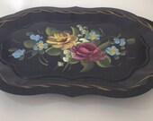 Gilded Dresser Black Metalware Tole flower painted vintage tray