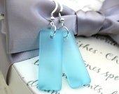 Light Blue Recycled Glass earrings with Sterling earwires