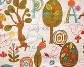 SALE Keiki, Mind Your P's & Q's, Forest Critters Cream Fabric - Half Yard