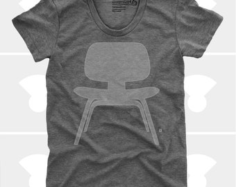 Women's TShirt Eames Plywood Chair (Women), Womens Top, S,M,L,Xl, Mid Century Modern, Eames Chair Shirt (4 Colors) for Women