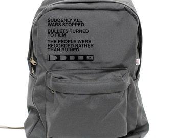 Backpack: Film v. Bullet, Rucksack, Inspirational Quote, Typography, Nylon School Backpack, Camera Backpack, Mens Backpack, Womens Backpack