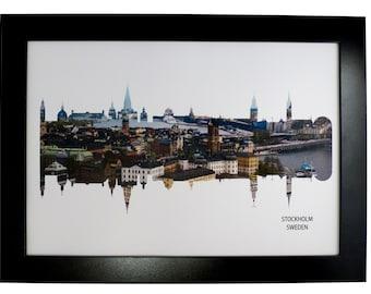 Stockholm Sweden Skyline Print with aerial city map