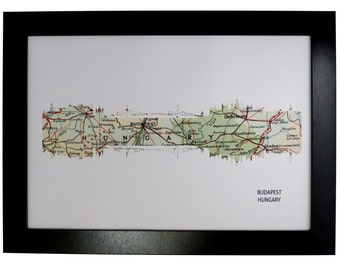 Budapest City Hungary Skyline Print with vintage map