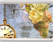 Steampunk Clock Ephemera Yellow Rose Victorian Vintage Art Melamine Serving Tray gift
