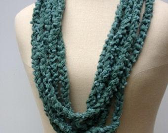 Sale Teal seafoam petrol green Cowl loop rope chain circle Infinity Scarf Fiber necklace vegan