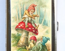 Garden Gnome Elf Cigarette Case Wallet Business Card Holder mushroom toadstool fairytale