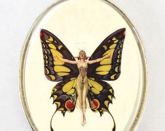 Art Deco Butterfly Flapper Women  LARGE 40X30mm Glass domed pendant