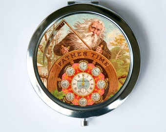Father Time Compact Mirror Pocket Mirror