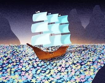 "Ship Art, Kids Room, Kids Wall Art - ""Sea of Stars"""